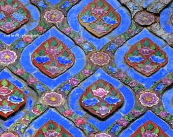 Bangkok, Golden Temple, Thailand, Asian Tile, Asian Blue, Thai temple