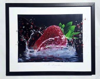 Strawberry Kitchen Decor, Fruit Kitchen, Modern Farmhouse Art Print, Food Photography, Digital Fruit Print, Dining Room Wall Decor