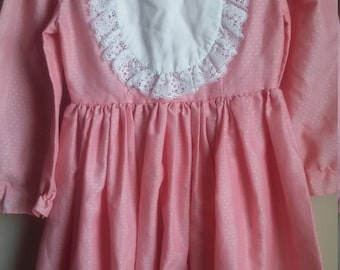 Little girl pink baby doll style dress