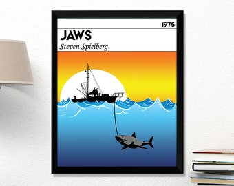 Jaws Movie Poster Minimalist Poster Steven Spielberg Poster Jaws Print Jaws Wall Art Home Decor Wall Art Jaws Fan gift Movie Fan Poster
