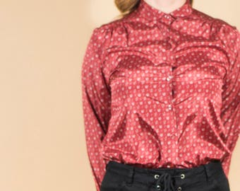 Vintage Blouse Peter Pan Collar Floral 80s Shirt Secretary Blouse Red Floral Blouse Boho Shirt