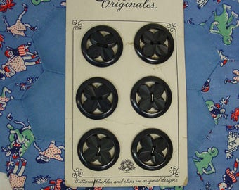 6 Vintage Buttons Plastic Black Flower in a Circle 1 1/16 On Card