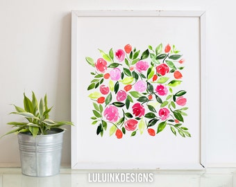 Hand-painted Watercolor Print - Rose Bloom: A Bright Floral Print with Modern Watercolor Florals