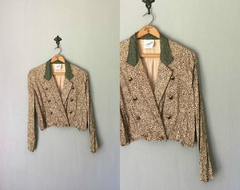 Vintage NEW WAVE Crop Jacket •1980s Clothing •Modern Static Print Peach Black 80s Light Button Up Coat Cropped Top •Women Small Medium
