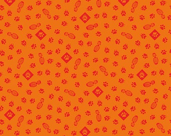 SALE Cub Scouts Paws Orange - Riley Blake Designs - Boy Scouts Paw Prints Footprints Red - Quilting Cotton Fabric - choose your cut