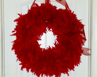 Red Feather Wreath 27'' HUGE - ships quick (choose your color options!)