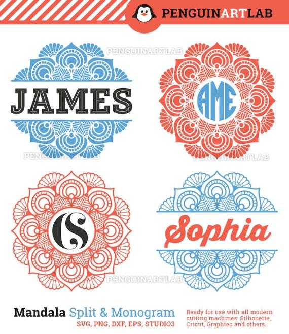 Cuadros del monograma de Mandala y Split plantillas Pack