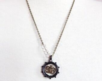 Elizabeth - queen's crown shadow box necklace - princess crown