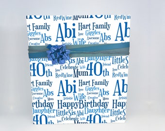 Word Art Personalised  Birthday or Any Occasion Wrapping Paper - GW008