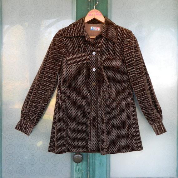 Vintage 1970s Issey Miyake Shirt Jacket Size 9 Brown Arrow Print Velvet