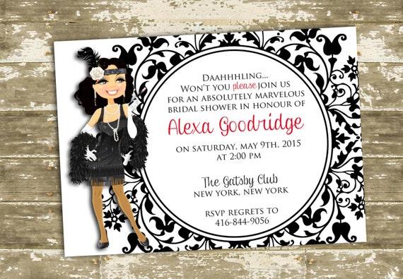 Great gatsbyflapper inspired bridal shower party invitation filmwisefo