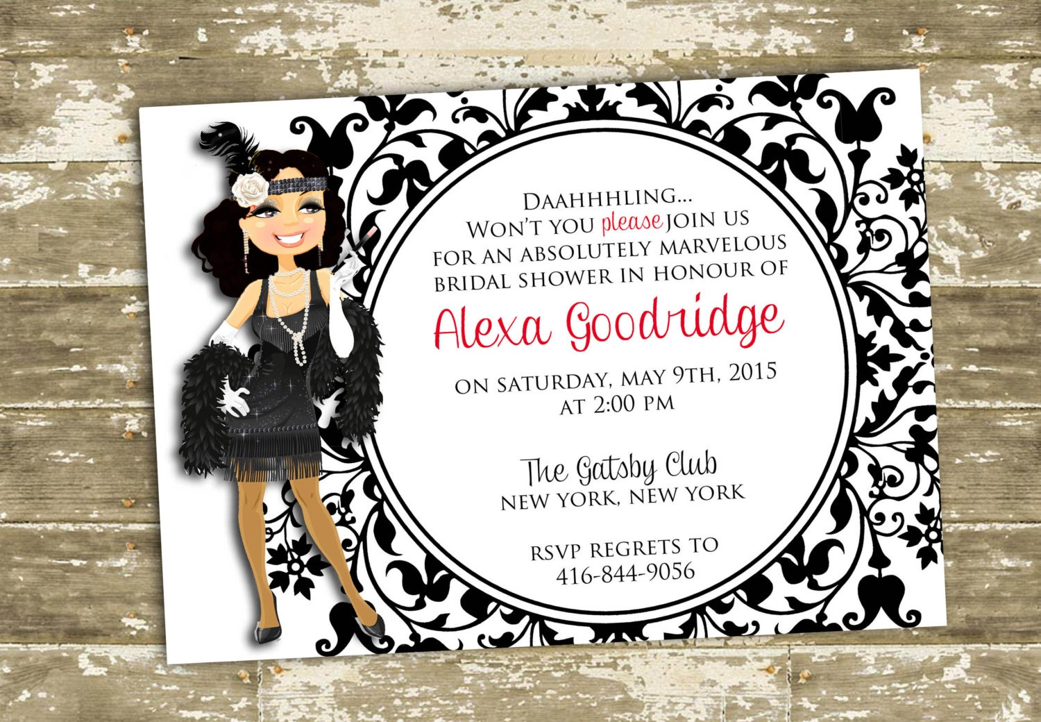 Great Gatsby/Flapper Inspired Bridal Shower/ Party Invitation