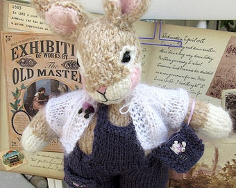 Bunny Rabbit Doll; Hand Knit, Stuffed/ One of a Kind, Embroidered Heirloom Collectible/ Rachel and Her Storybook