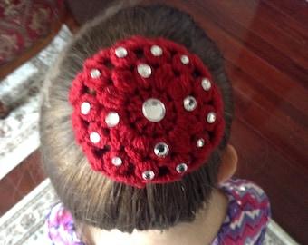Small Crochet Hair Bun with Rhinestone, Crochet Bun Cover, Bun Holder, Ballet Bun Cover