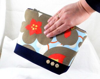 Amy Butler, Cosmetic Bag, Handmade Purse, Pencil Case, Zippered Pouch, Bridesmade Gift, Lotus Fabric, Birthday Present, Shower Gift