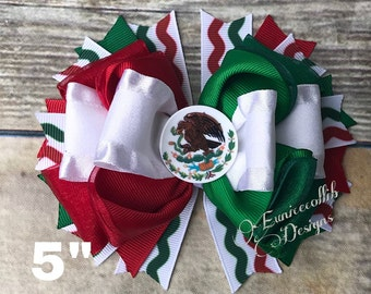 """5""""Mexican  Tricolor Hair bow."""