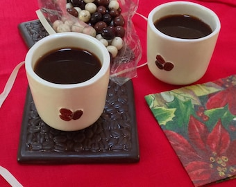 Coffee Lovers Gift set for 2/espresso gift set/2 espresso cups, chocolate covered espresso beans
