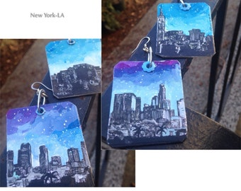 City Slicker - hand-painted New York and Los Angeles city skyline earrings