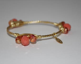 Coral and gold wire bangle