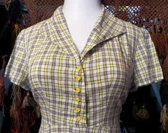 L/XL Cotton 40s/50s Yellow Check Day Dress