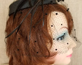 Vintage Women's Veiled Black Felt & Feathers Fascinator Hat