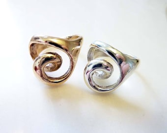 Spiral Heart Ring, Vintage Mid-Century Modern Swirl, Bronze or Sterling Silver, 3 Dimensional, Lost Wax Cast