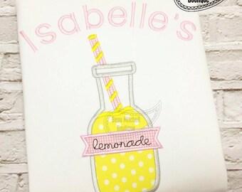 Lemonade Jar with straw applique embroidery design