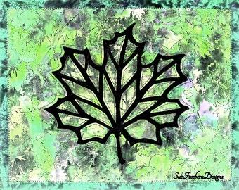 Maple Leaf Silhouette #2 Art Quilt Pattern INSTANT DOWNLOAD