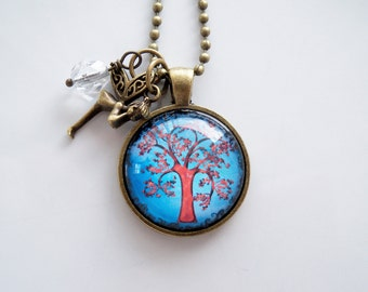 Tree of Life Necklace - Tree Pendant -  You Choose Bead and Charm - Custom Jewelry - Photo Jewelry - Stylized Colorful Tree - Family Tree