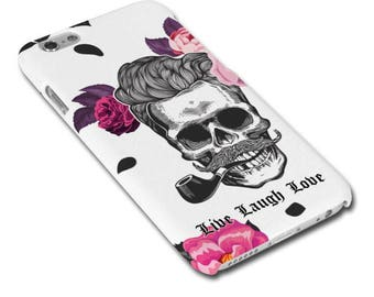 Live Laugh Love Skull with Moustache and Roses Hipster Phone Case/Cover for iPhone Case/Cover Samsung Phone Case/Cover - FREE UK Delivery