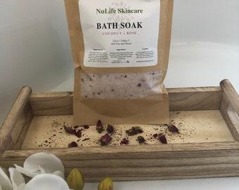 Bath Soak, Bath Salt, Natural, Coconut + Rose, Coconut Milk Bath, Epsom Salt, Himalayan Pink Salt, Tired Muscle, Detox, Botanical Bath Salts