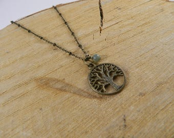 Tree of Life Necklace | Bronze Gemstone Necklace | Moss Agate Necklace