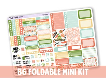 1074-MK // Vertical B6 Foldable Mini Kit for White Space Planning & SMC Inserts  // Cinco De Mayo Collection // Planner Stickers