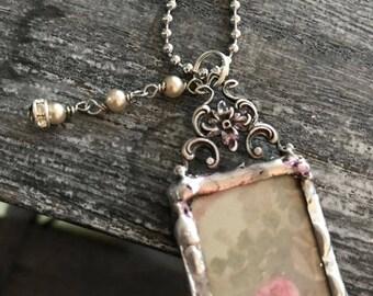 Vintage Rose Soldered Necklace