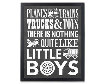 Boys playroom chalkboard poster Planes trains trucks and toys Printable Toddler room decor Little boys quote print Chalkboard playroom sign