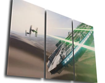 Star Wars Spaceship Battle Back Darth Vader Boba Fett Stormtrooper Painting Printed Canvas Wall Art Picture Home Décor, Split Canvas