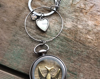 Pocket Watch Necklace, Bird, Charm, Long Necklace, Boho Necklace