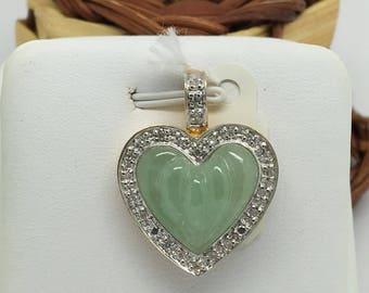 14K Two Tone Gold Natural Diamond and Jade Heart Shape Pendant