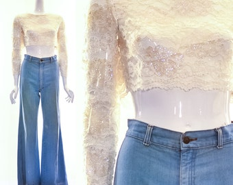 60's CROP TOP Sheer White Lace Top BRIDAL Cream White Sexy Engagement Sparkle Flowers Hippie Top Hippy Crop Top Small