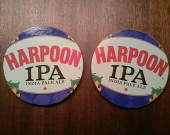 Harpoon IPA upcycled coasters, large pair
