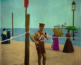 Antique Lifeguard Beach Photograph - Aqua Sand Red Vintage Man Ocean Art Print - 8x8 photo