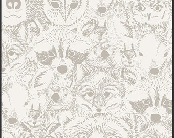 Indian Summer Menagerie Timberwolf - IS-50011 - Sarah Watson for Art Gallery Fabrics - Wolf - Bear - Owl - Racoon
