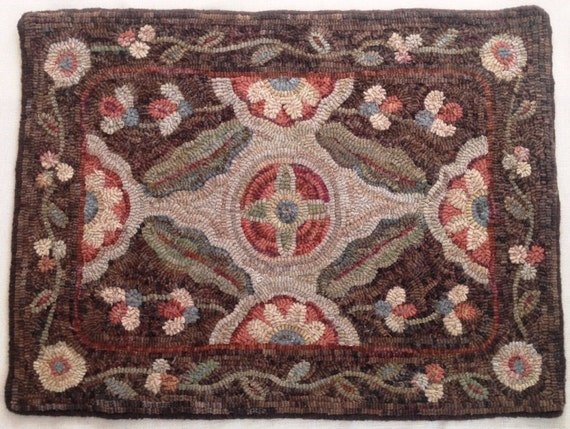 "Rug Hooking Pattern, ""Garden Retreat"" 20"" x 28"", J806, Primitive Floral Design"