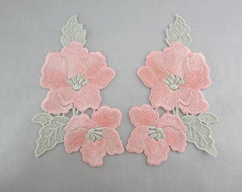 Pink Floral Applique Embroidery Patches