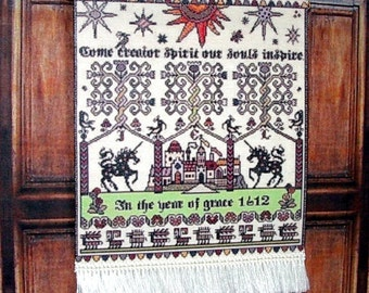 Whitsun 1612 Sampler, Medieval Dollhouse Miniature, 1/12 Scale, Hand Made