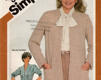 Misses Jiffy Unlined Jacket in Two Lengths, Stretch Knits Only, Simplicity 5351 Sewing Pattern, Misses size 12, Used, Vintage Pattern