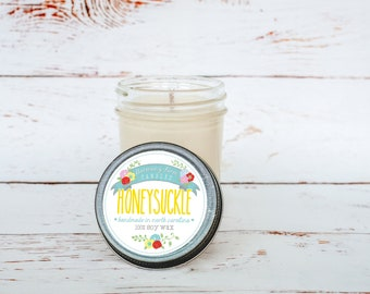 Honeysuckle Soy Wax Candle in 8 oz. Jelly Jar - Floral Flower Candle for Women, Graduation, Home, Housewarming, Hostess Gift
