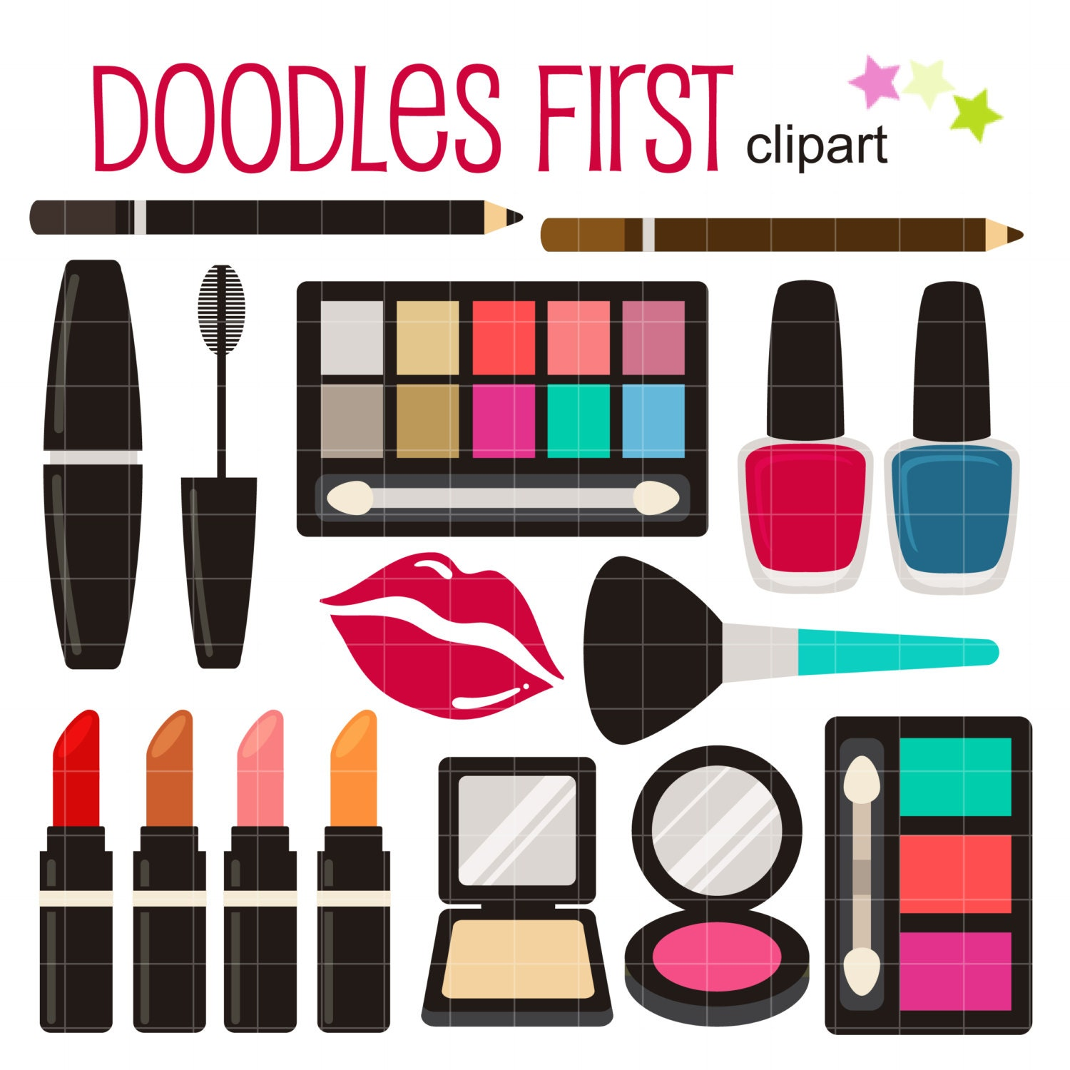 make up kit digital clip art for scrapbooking card making rh etsy com makeup clip art free makeup clipart