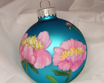 Hand Painted Ornament. Painted Ornament. Floral Ornament. Glass Ornament.
