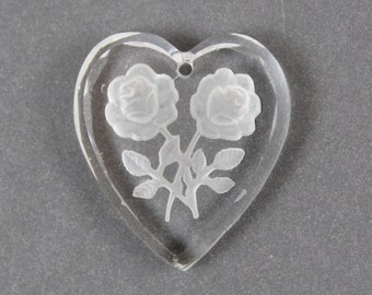 Vintage Western Germany Frosted Intaglio Clear Glass Heart Pendant